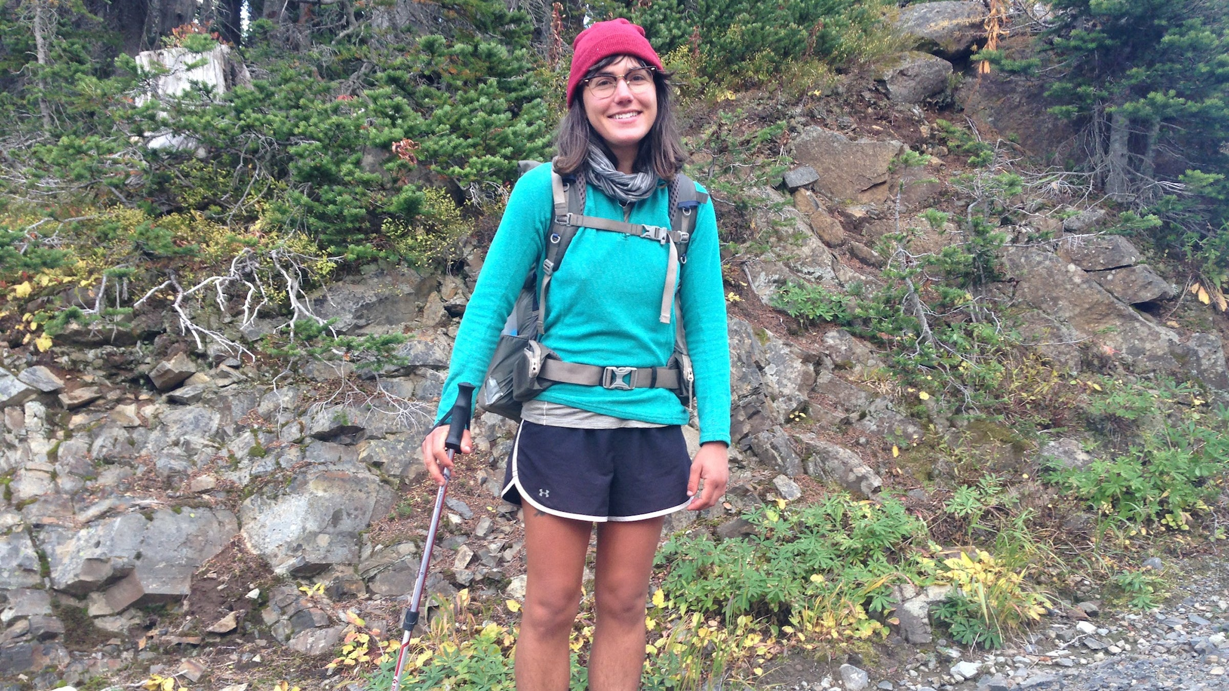 """Sasha Hashemipour, 28 Trail Name: Raging Pineapple Portland, Oregon """"The biggest thing has been being kind and making kindness a part of my life, and paying it forward. I've received a lot of kindness. I've noticed kindness on the trail more than I have out in the real world. I'm sure it's there; it's definitely there, but maybe you don't notice it as much. I want to focus on kindness more and bring it into my life. After the trail, I'll try to be more peaceful, more present."""""""