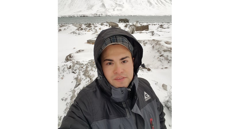 Santillan takes a selfie after learning he'd driver to the village of Siglufjordhur, some 240 miles out of his way.