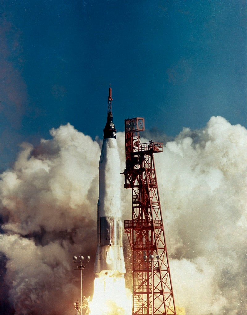 The launch of the MA-6, Friendship 7, on February 20, 1962. Boosted by the Mercury-Atlas vehicle, a modified Atlas Intercontinental Ballistic Missile (ICBM), Friendship 7 was the first U.S. marned orbital flight and carried Astronaut John H. Glenn into orbit. Astronaut Glenn became the first American to orbit the Earth.