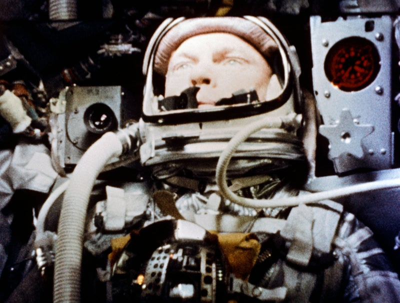 "A camera onboard the ""Friendship 7"" Mercury spacecraft photographs astronaut John H. Glenn Jr. during the Mercury-Atlas 6 spaceflight."