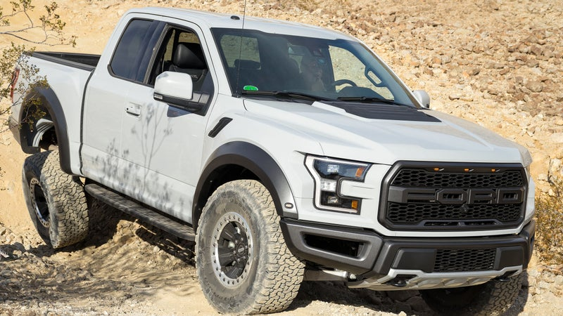 The Raptor's dimensions can be overly large on tight trails, but the truck is otherwise unexpectedly good at crawling over rocks, in addition to its obvious prowess at high-speed desert driving.