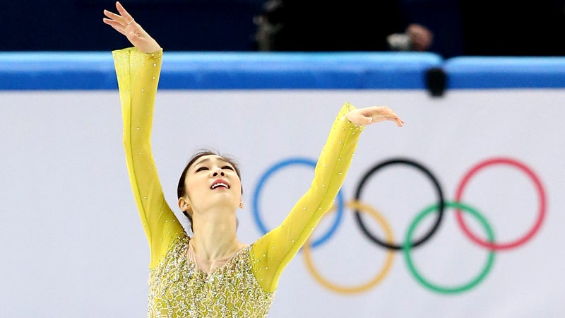 Yuna Kim of South Korea perfroms during the women's short program of the Winter Oolympics at the Iceberg Skating Palace in Sochi, on Feb. 19, 2014. The Vancouver gold medalist took the lead of  the event and will aim at capturing  the second straight Olympic gold medal.  ( The Yomiuri Shimbun via AP Images )