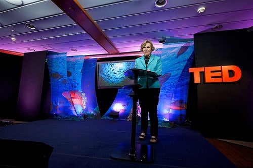 Sylvia Earle on stage during Session 1 on the Mission Blue Voyage in the Galapagos. Credit: TED/James Duncan Davidson