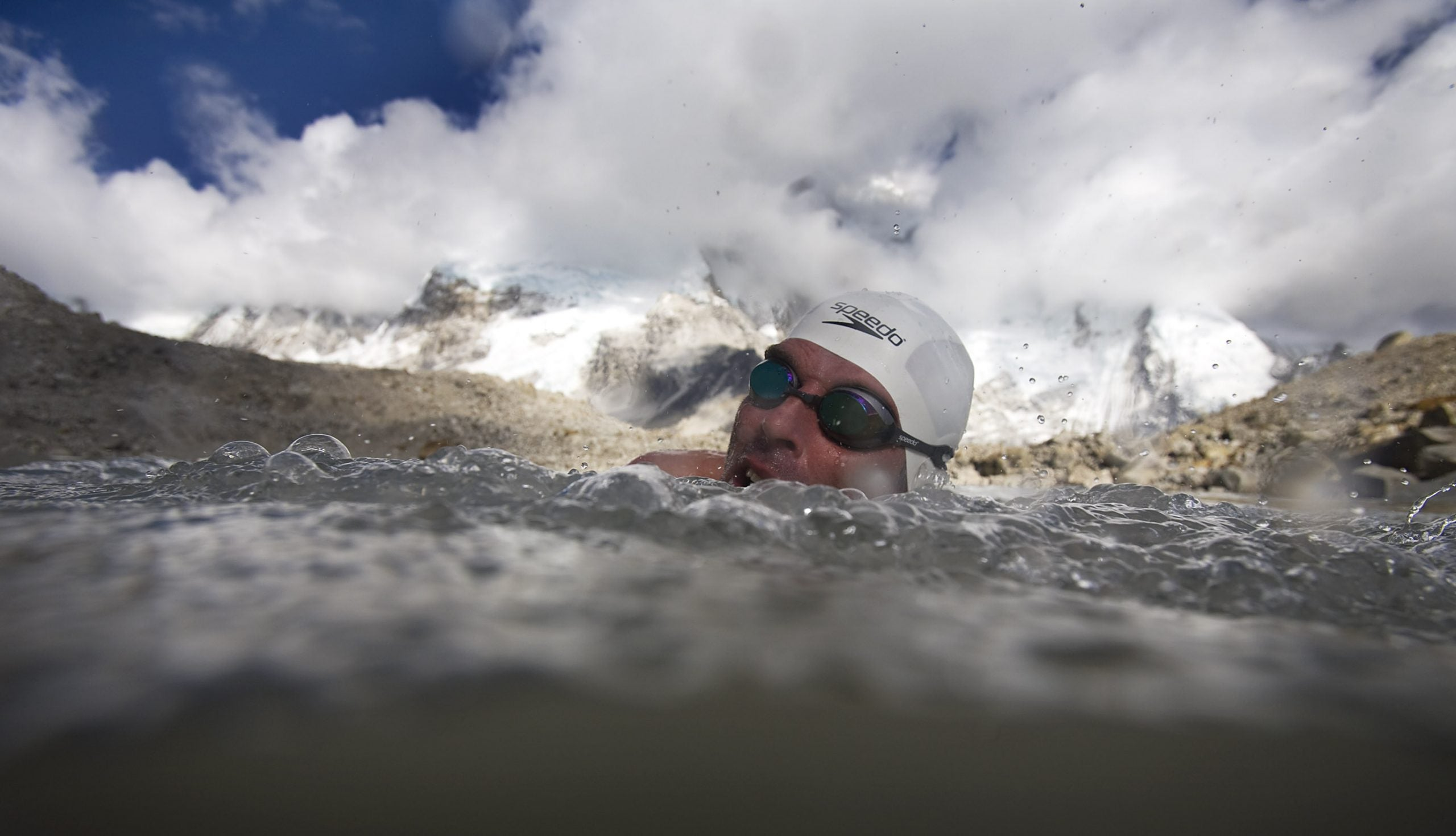 FIRST SWIM ON MT EVERESTEnvironmental campaigner and endurance swimmer Lewis Gordon Pugh completes a record 1,000m swim across a glacial lake (at 5,300m in altitude) under the summit of Mt Everest to draw attention  to the melting of the Himalayan glaciers.  The expedition was sponsored by Pick n Pay and SAP.  Photo by Michael Walker via Sat4Rent