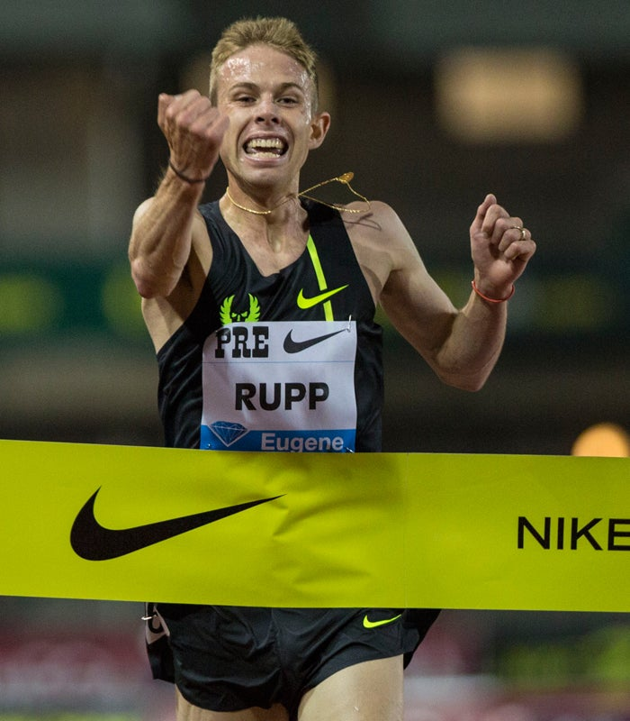Olympian Galen Rupp, of the United States and former Oregon standout, crosses the finish line in the men's 10,000 meter race at the 2014 Prefontaine Classic at Hayward Field. Rupp won with a time of 26 minutes, 44.36 seconds. Mary Jane Schulte, Oregon News Lab