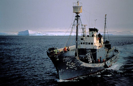 The Japanese whaling vessel Kyo Maru No. 1 on a whale hunt in the Southern Ocean Sanctuary.