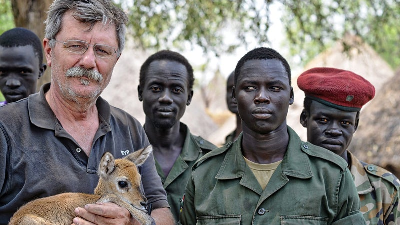 In 2014, Pelton (here with baby antelope) visited the conflict in South Sudan, hunting down the rebels to create an entire issue of Vice Magazine, and a documentary.