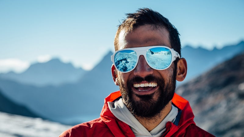 Andrew Yasso wears the Revo Traverse in the French Alps.