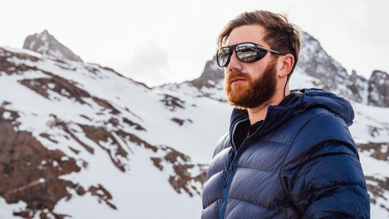 Chris wears the Vuarnet Glaciers while climbing in the High Sierra.