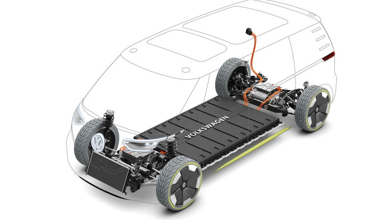 The I.D. Buzz uses an underfloor battery pack, strongly reminiscent of Tesla's platform.