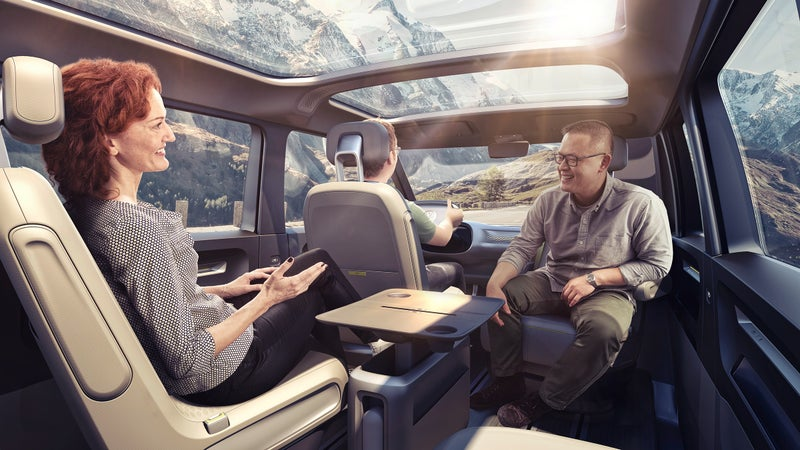 Volkswagen envisions a reconfigurable interior that allows for passenger interaction, or space to sleep.