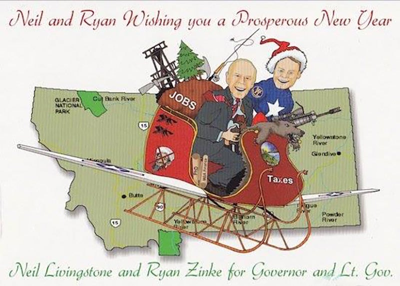 This was the Christmas card Trump's pick for interior secretary sent out in 2011. Note the dead wolf.