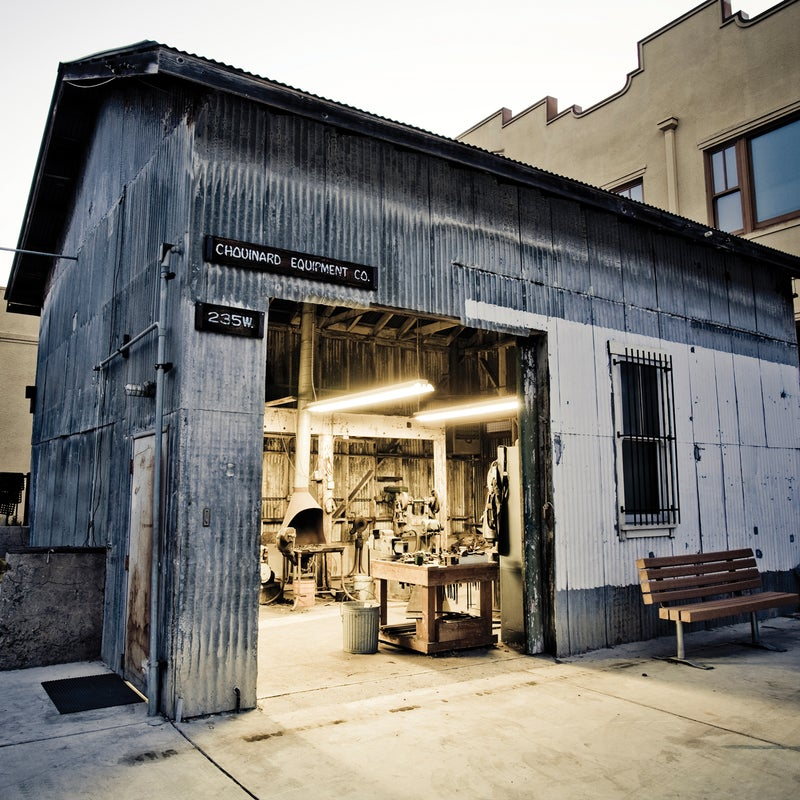 Chouinard's tin shed still stands on Patagonia's campus in Ventura, California.
