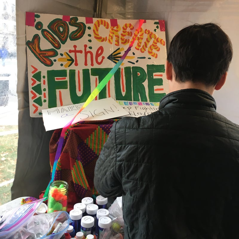 Though kids were encouraged to make a sign, it was a sign Hatcher found that meant the most.
