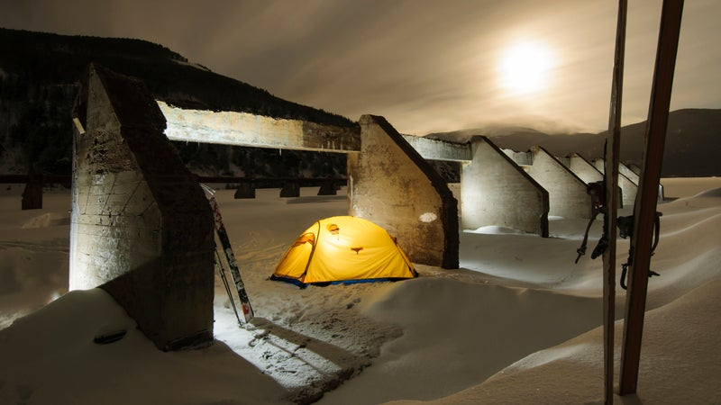 Modern camping in the ruins of the field house at Camp Hale, Colorado.