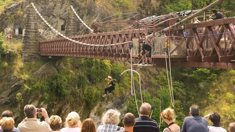A brave soul takes the leap of faith off the Kawarau Bridge near Queenstown, New Zealand.