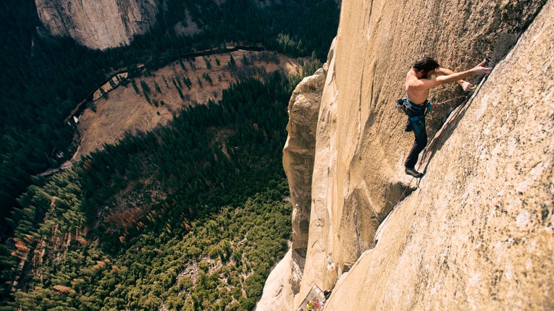 Kevin Jorgeson free-climbing the Dawn Wall in 2015, during the record-breaking climb he made with Tommy Caldwell.