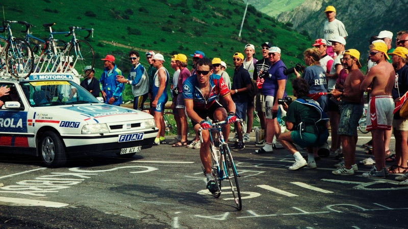 Lance Armstrong on the Alpe d'Huez during the 10th stage of the 1995 Tour de France.