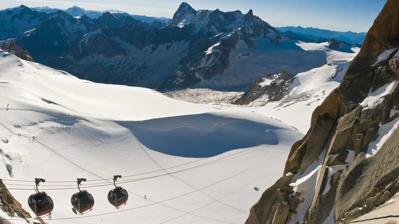 The Mont Blanc gondolas take tourists and skiers across the glaciers to the Aiguille de Midi at 12,602 feet.