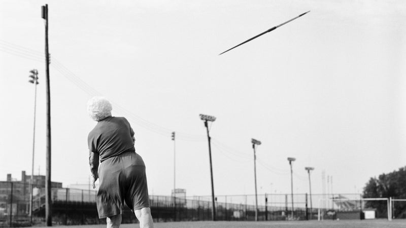 Senior athlete Helen Beauchamp, 87, of Memphis, Tennessee, participates in the 85-89 women's javelin during the 2007 National Senior Games in Louisville, Kentucky.