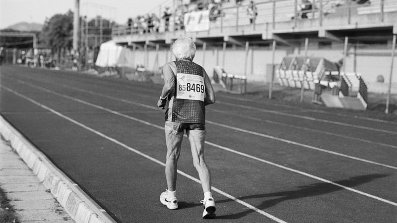 Senior athlete Louise Adams, 86, of Colorado, runs as the sole competitor in the W85+ age division of the 5,000-meter run at the 2007 World Masters Championships Stadia in Misano Adriatico.
