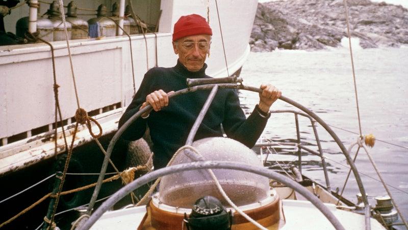 Jacques Cousteau aboard the Calypso.