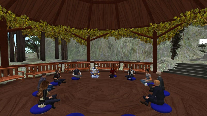 A virtual reality meditation session.
