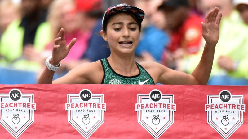 Alexi Pappas wins the women's division of the 2015 AJC Peachtree Road Race in Atlanta.
