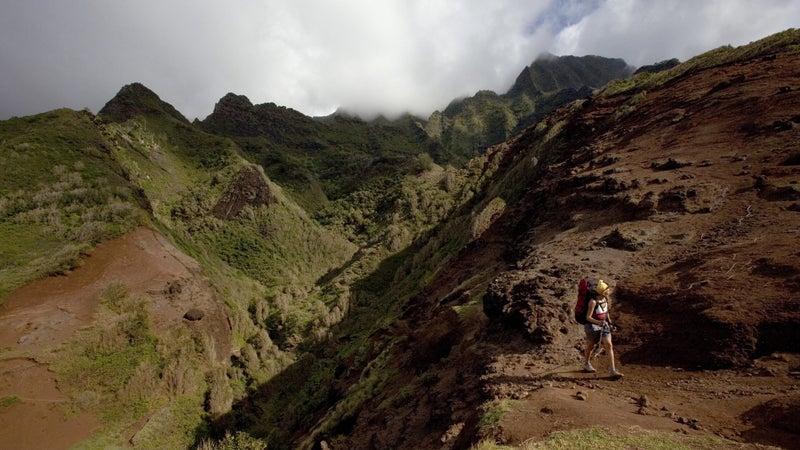Along the Kalalau Trail on the Na Pali Coast of Kauai, Hawaii.