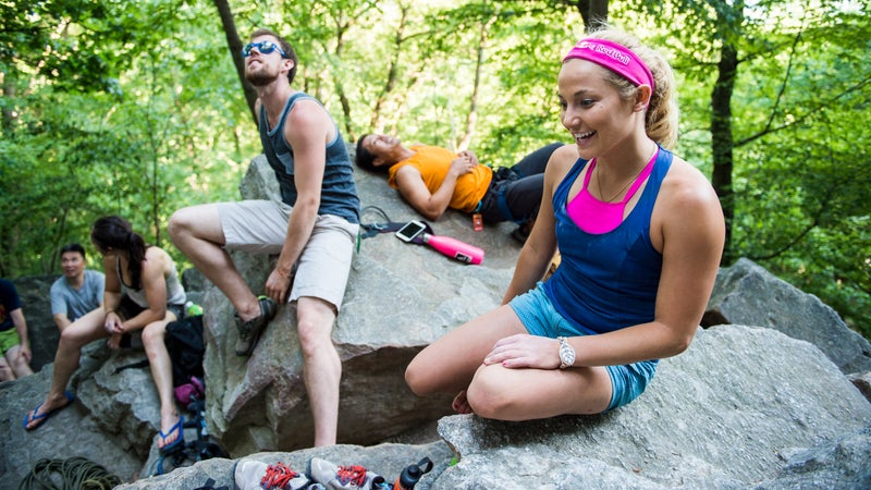Sasha DiGiulian shares a laugh with climbers at the Shawangunks in New Paltz, New York.