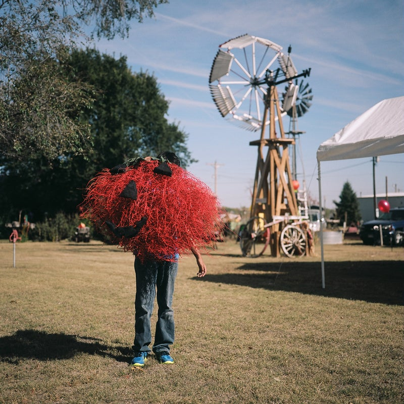 Every year, the tiny town of Haigler, Nebraska holds a tumbleweed festival. It was inspired by a tumbleweed storm roughly a decade ago. One of their events is a tumbleweed decorating contest, where local kids and their families go out, find a tumbleweed, and pretty it up. This is Max Franco and his pumpkin entry.