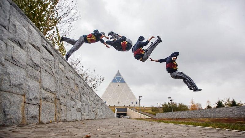 Ryan Doyle performs parkour in Kazakhstan.