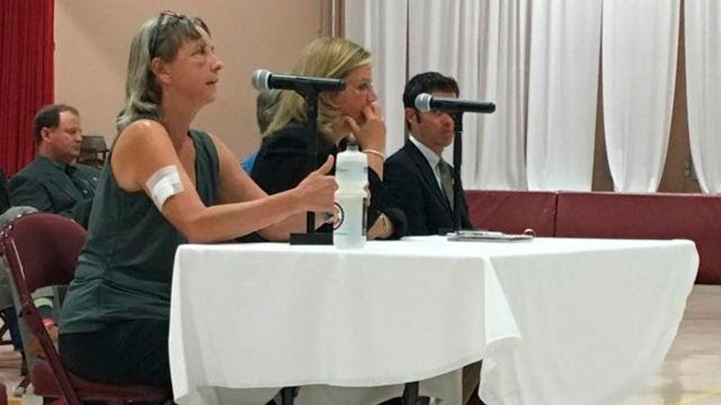 Karen Williams testifies before the legislative committee on water and natural resources in Alamogordo.