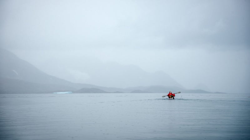 We paddled the Orus a total of 100 miles through Greenland's fjords and coastal waters this trip. They're nimble and easy to paddle in calm conditions like these, but less stable in heavy seas than the rigid boats you can rent there.