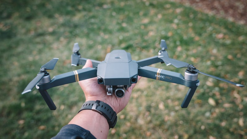 The Mavic Pro is capable of capturing footage from four miles away and can be folded into a compact pocket-sized drone.
