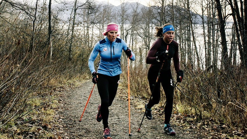 Kikkan trains with her teammate and friend Rosie Brennan on the Turnagain Arm Trail.