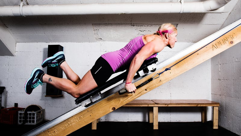Part of Kikkan's training includes weight work at Alaska Pacific University.