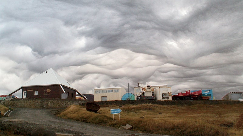An asperatus cloud over Possession Island, in the sub-Antarctic. These rare clouds usually form after thunderstorms, most often in the Plains states, but were proposed as a new classification only in 2009. If given its own status, it would be the first new cloud formation added since 1951.