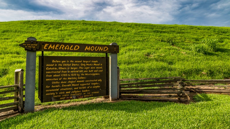 Emerald Mound, off the Natchez Parkway, is the second largest temple mound in the United States.