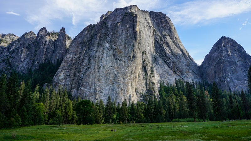 Cathedral Rocks, near El Capitan—scene of some of the first serious rock climbing in the Sierra's.