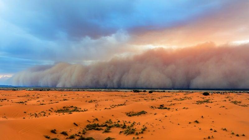 A haboob rolls through the Erg Chebbi Desert in Morocco.