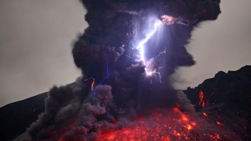 Lightning and lava meet at Japan's Sakurajima Volcano.