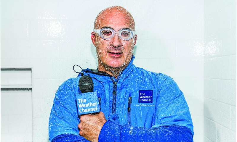 Meteorologist Jim Cantore doesn't just study storms, he chases after them—and into them.
