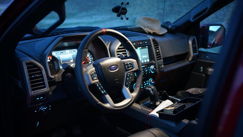 The Raptor's interior feels like being in a Mercedes. You can be ten feet in the air, sitting in its air-conditioned seats, and nearly fall asleep because everything's so quiet, spacious, and comfortable.
