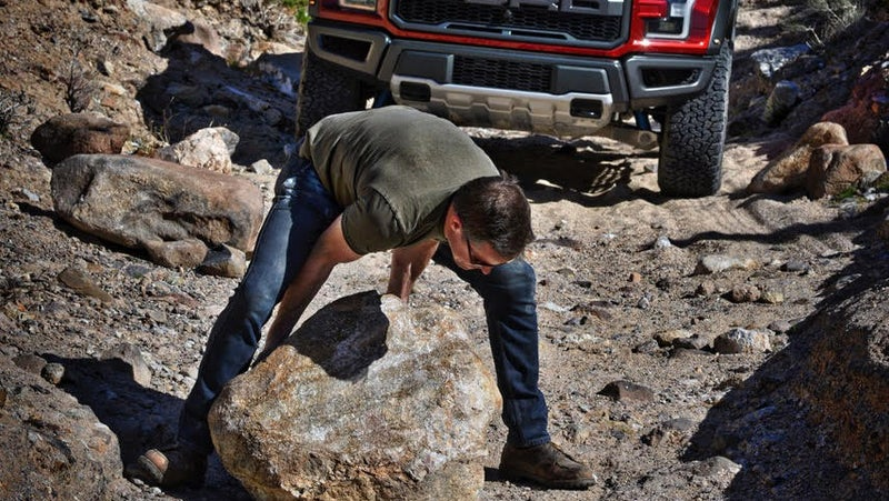 A smaller truck could simply have driven around this boulder. Instead, we had to deploy our ARB recovery kit to drag it backwards 50 yards out of the way. Obviously I tried to pick it up first. That didn't happen.