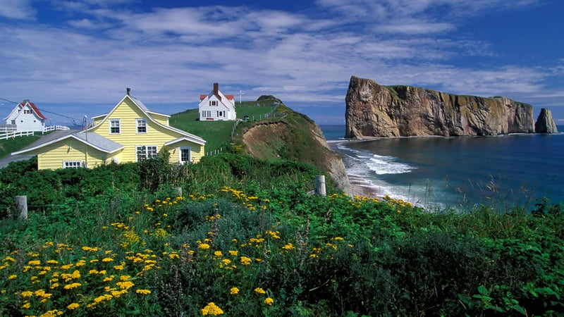 Perce Rock in the Gulf of Saint Lawrence on the tip of the Gaspe Peninsula.