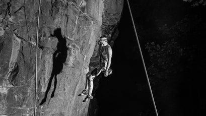 Dana Smith lowering off a climb.