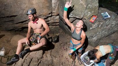 Mark Vabulas on a break (L); 12-hour competitors Ainsley Ware and Julia McGuire (R)