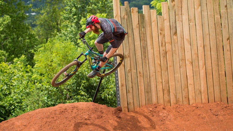 Launching off a wooden wall ride on the Devil's Racetrack.