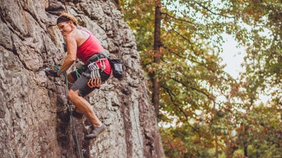 Natalie Dower climbing towards 206 routes in 24 hours.